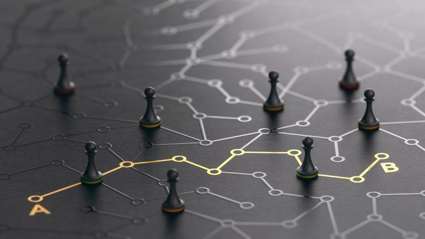 3D illustration of a conceptual maze.