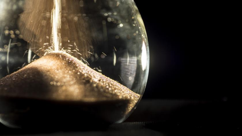 A close-up of an hourglass