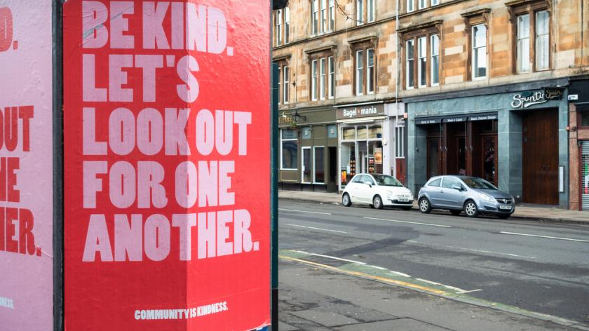 Poster urging kindness and community spirit during the Covid-19