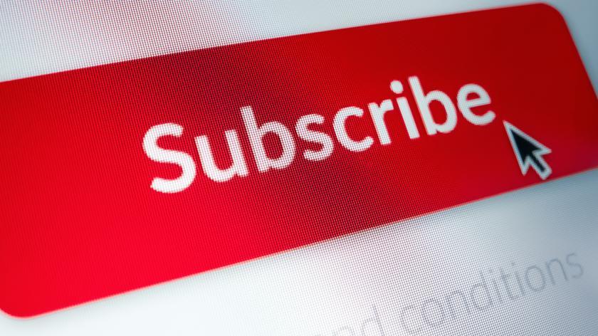Close-up Macro Shot of Subscribe