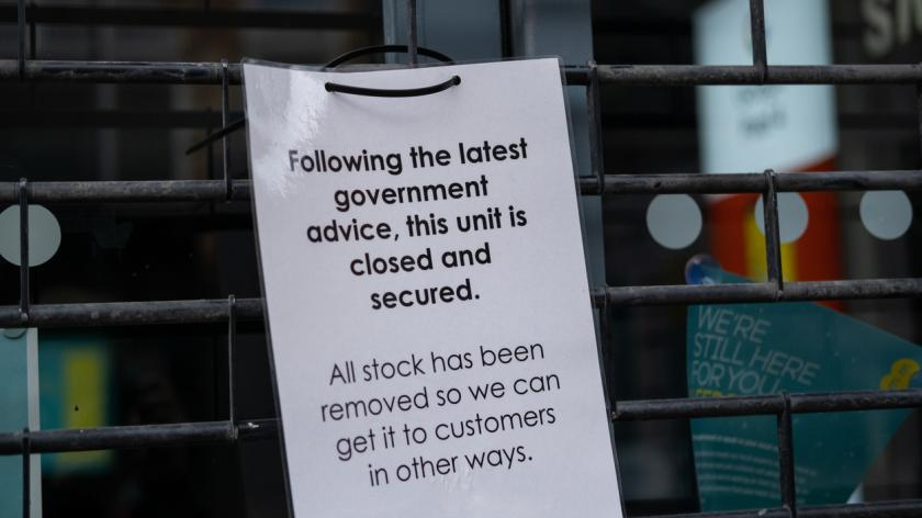 A shop closed due to the coronavirus pandemic