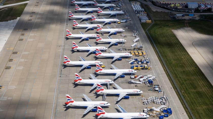 Parked British Airways Airplanes at Gatwick Airport due to COVID19