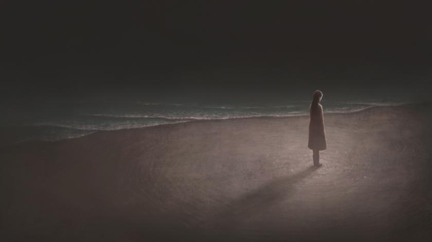 Mental health image: Woman alone with night sea, surreal landscape painting, lonely, loneliness artwork, hope and dream concept illustration, modern background