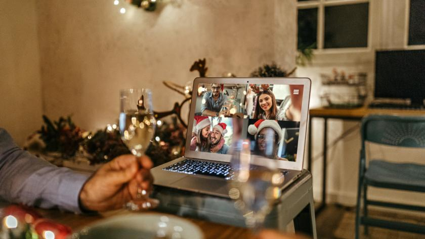 Video chatting online on the occasion of Christmas celebration