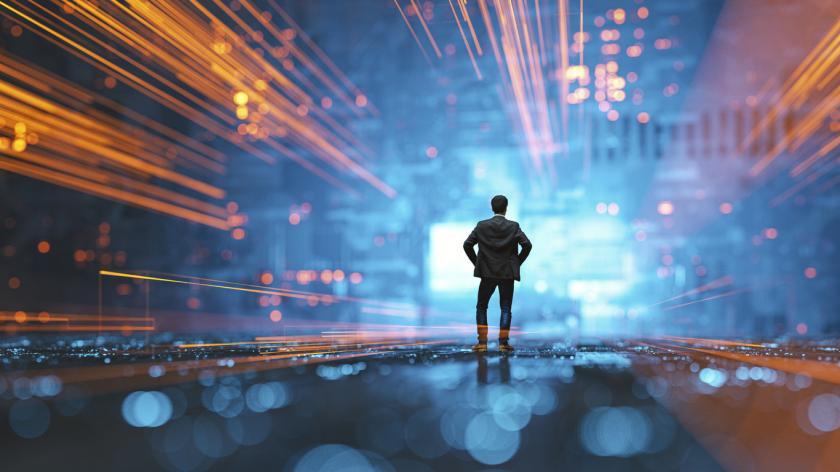 Futuristic image of a finance leader