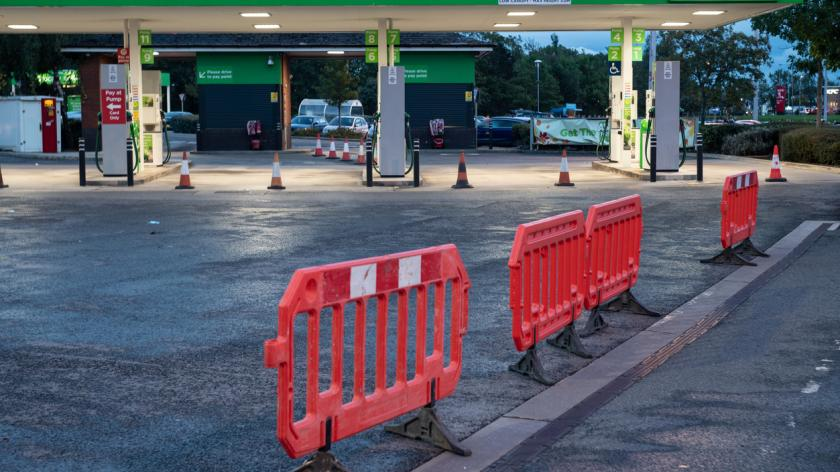 Picture of a petrol station closed