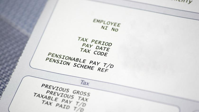 Paper pay slip with pension and tax information