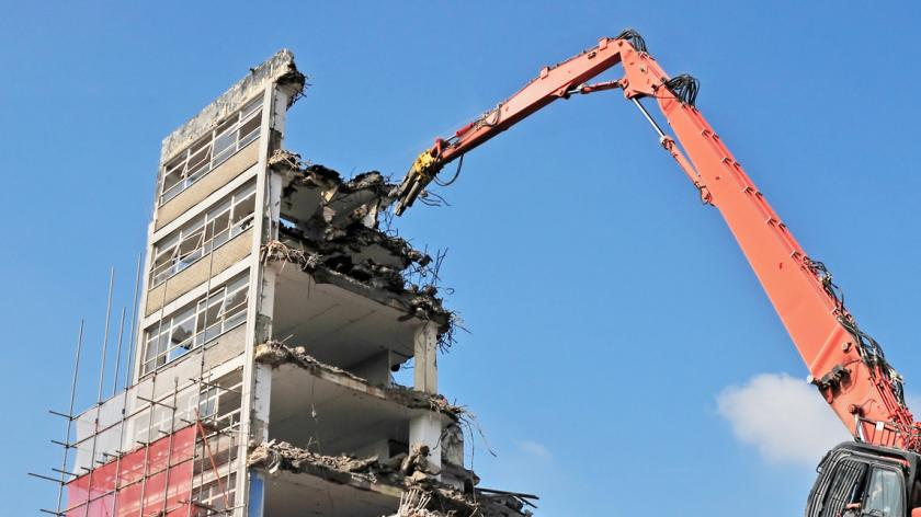 A picture of an office demolition