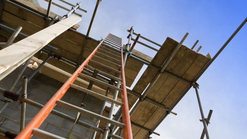 ew Home Construction Site Scaffolding with Ladder