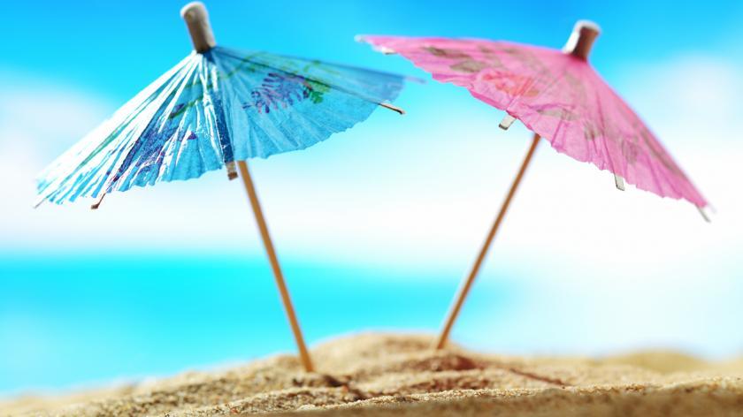 Cocktail umbrellas on the beach