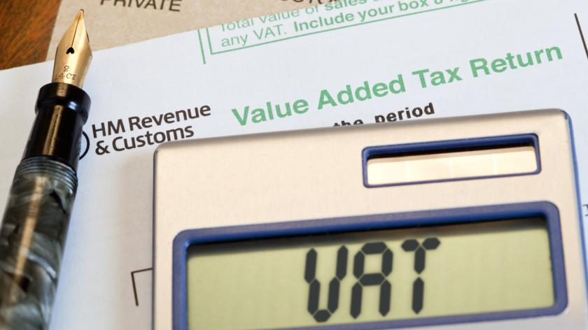 VAT form with a calculator