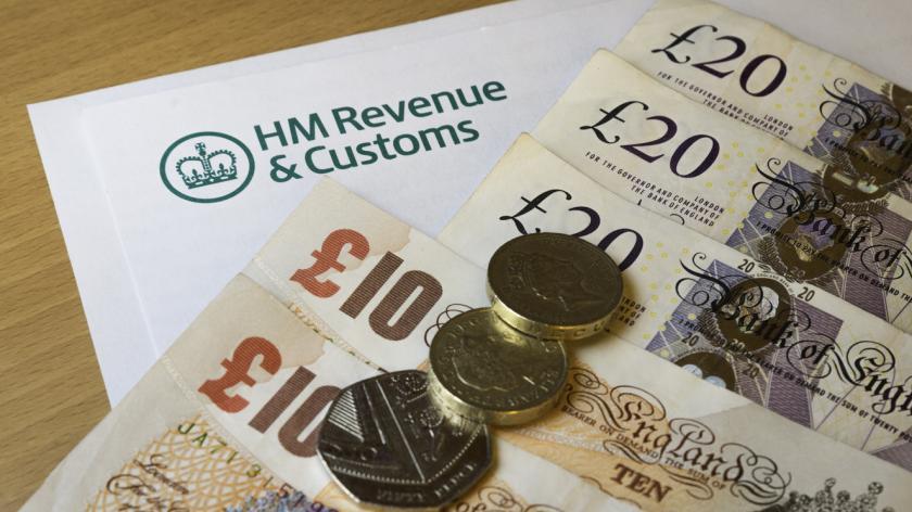 HMRC form with money