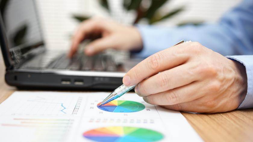 Businessman  reviewing business report