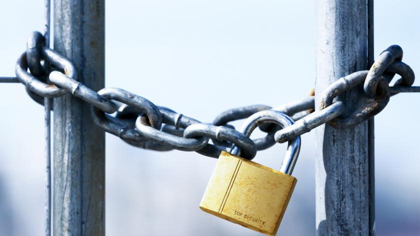 Golden Padlock and chain