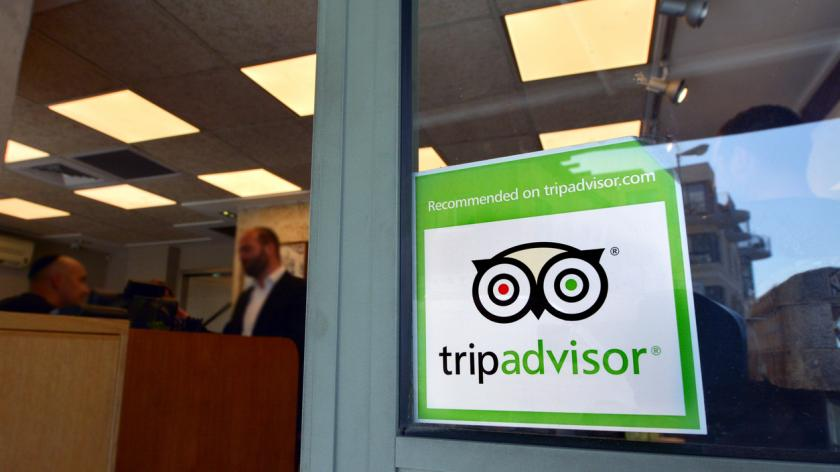 TripAdvisor sign on restaurant window