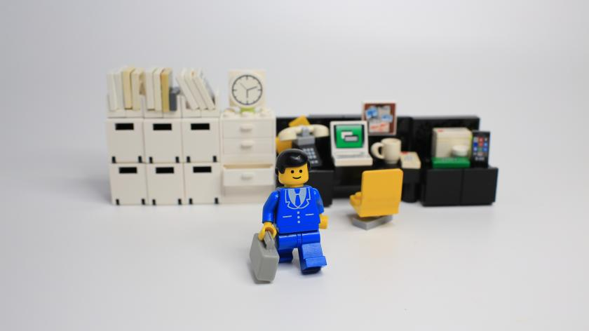 Worker lego mini characters from office