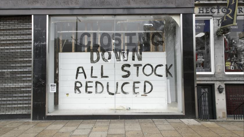 A shop is closing down on a High Street