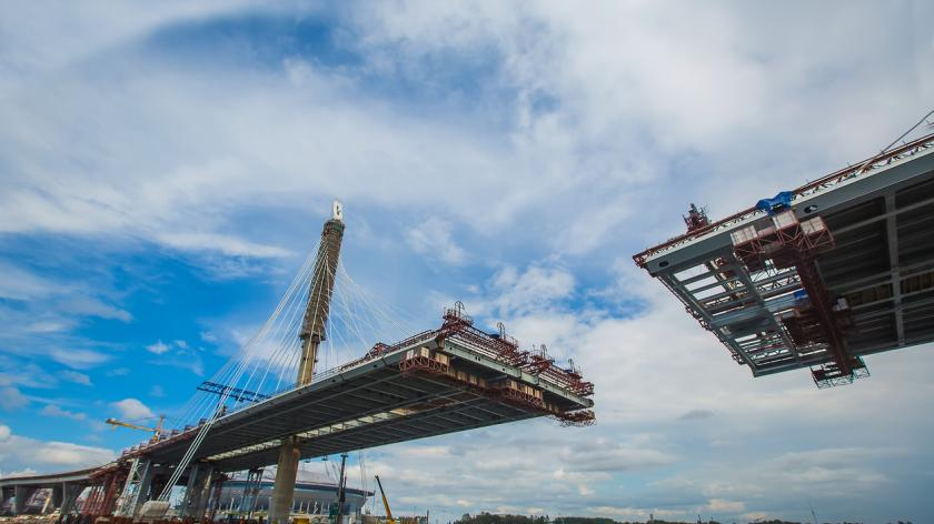 Cable-stayed bridge in the construction process