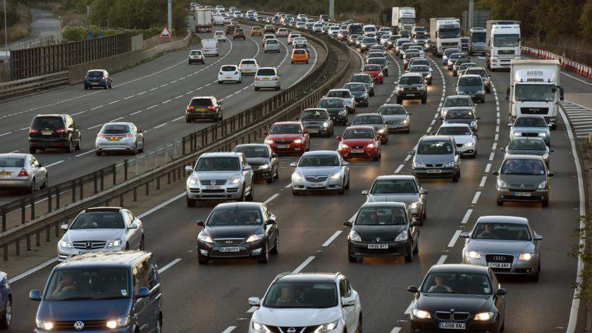 Busy traffic on the M1 motorway