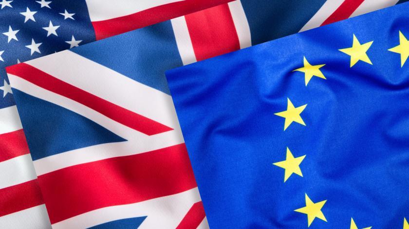 UK, US and EU flags