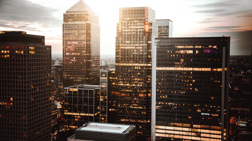 Canary wharf skyline at dusk