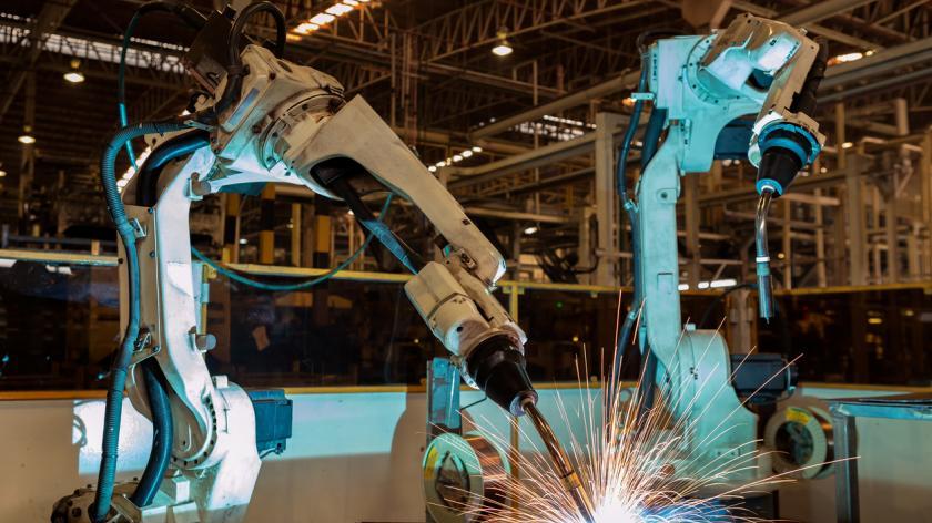Robot welding in car factory