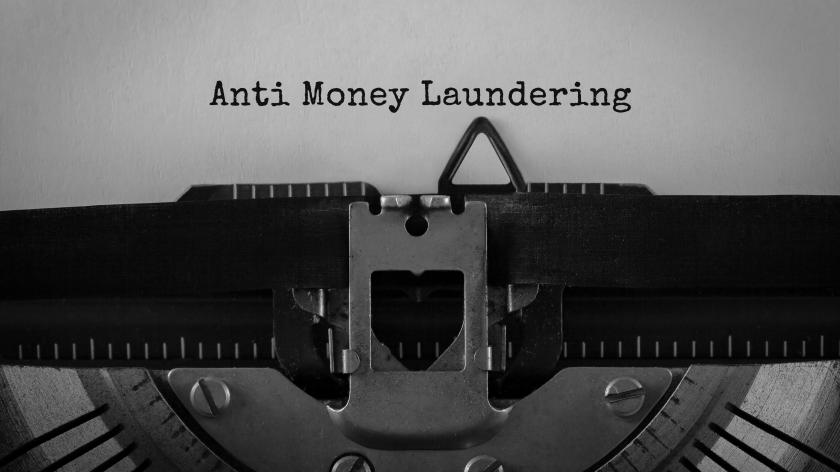 Anti Money Laundering typed on retro typewriter