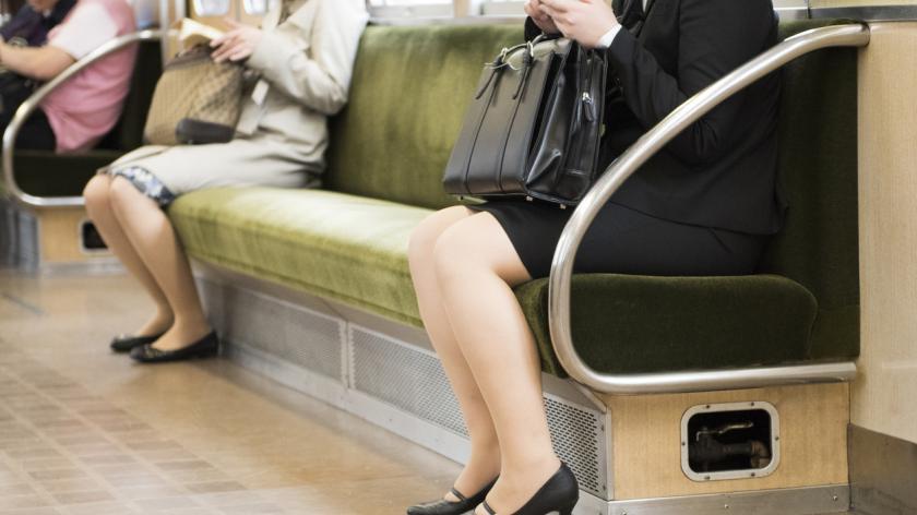 Business women sit on train