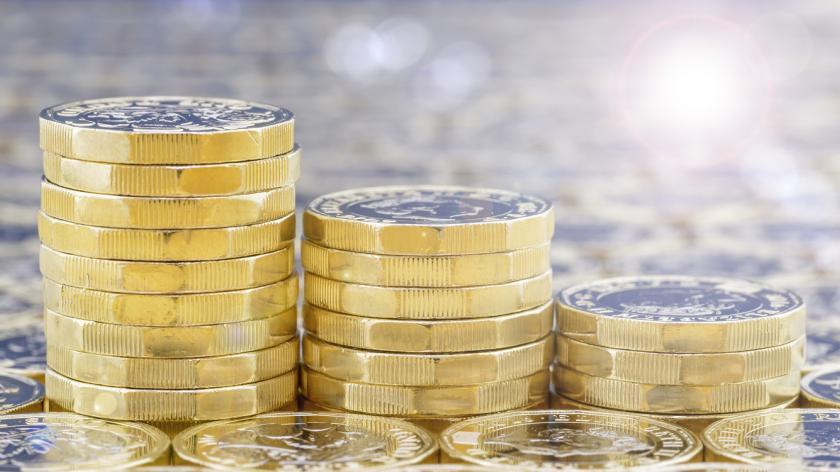 Golden coins in three descending stacks