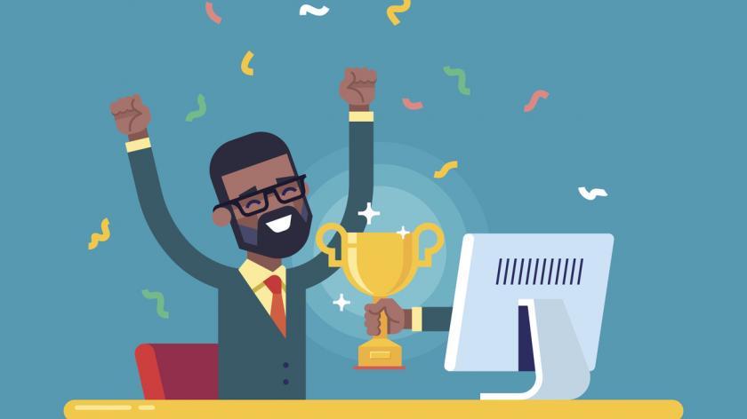 Black businessman got a gold award from monitor