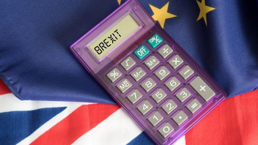 EU flag, Union Jack and a calculator