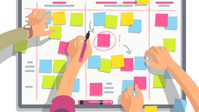 Team planning weekly schedule tasks