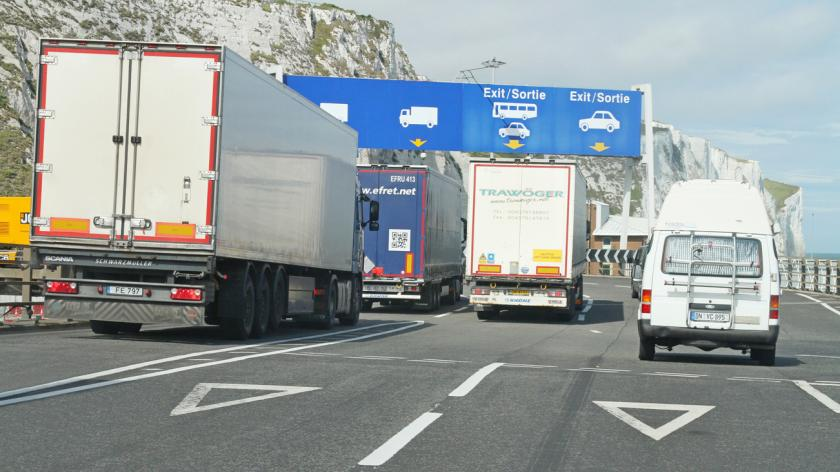 Vehicles exiting the port at Dover