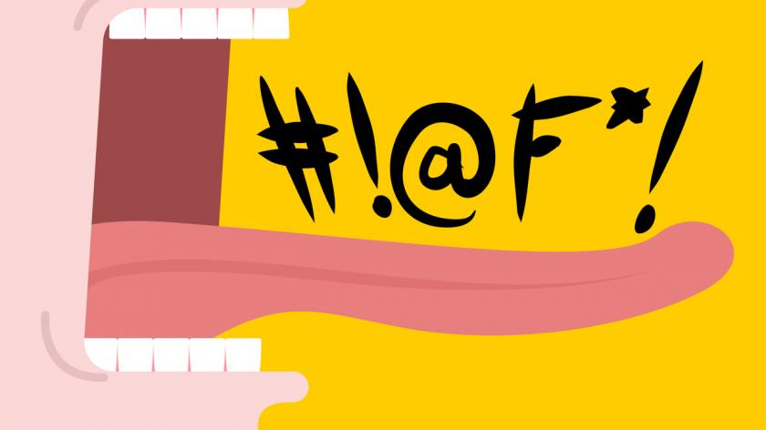 Illustration depicting a mouth a shouting swear words