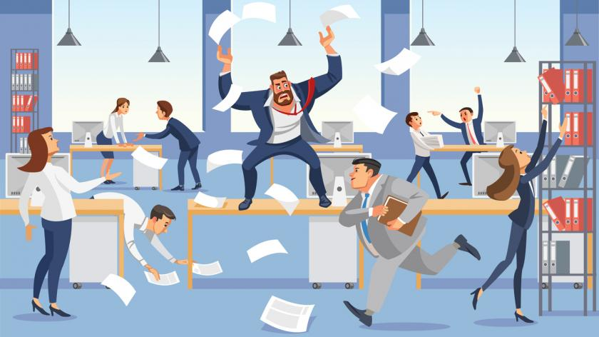 Angry boss shout in chaos office because of failure deadline