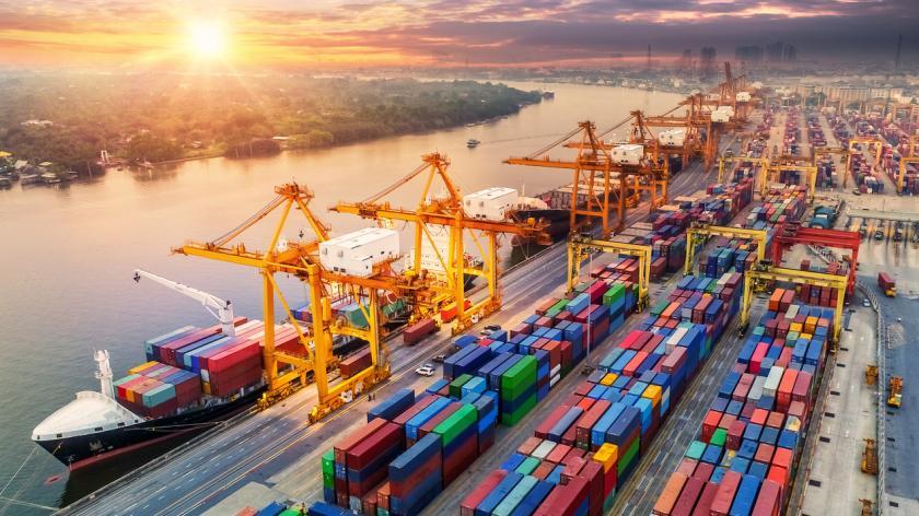 Logistics and transportation of Container Cargo ship