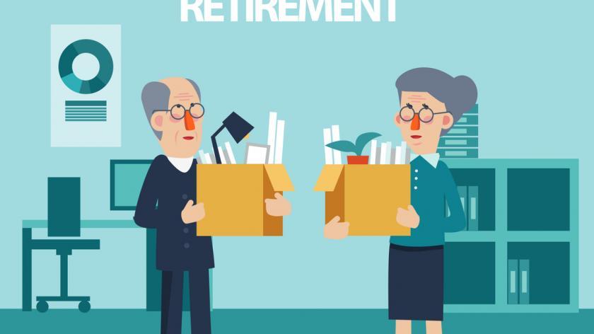 Elderly employee leaving office with box full of belongings