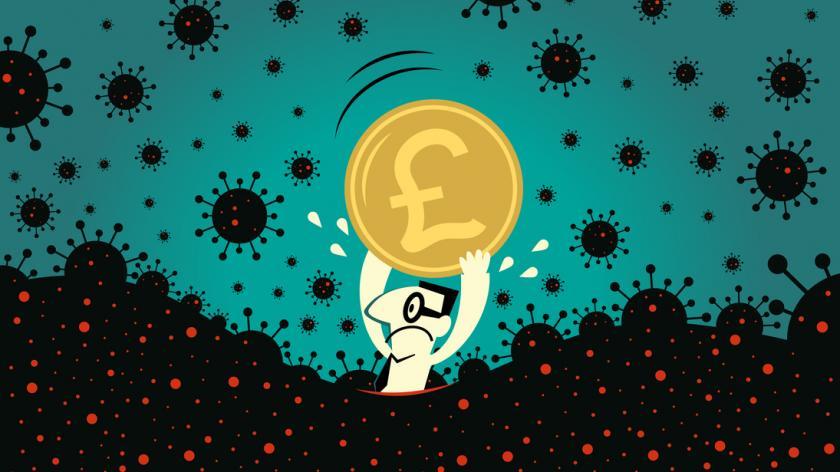 Business Characters Vector Art Illustration. Pandemic and financial crisis concpet. Scared businessman holds a Pound sign British currency, the fear of new coronavirus panic (covid-19, virus)