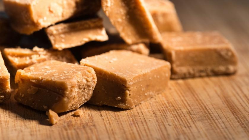 Closeup of homemade fudge in a kitchen