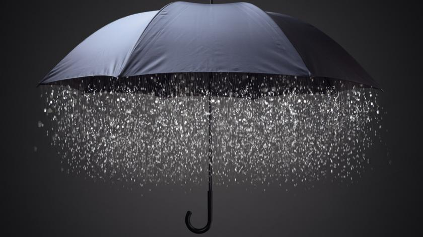 Raining inside an umbrella
