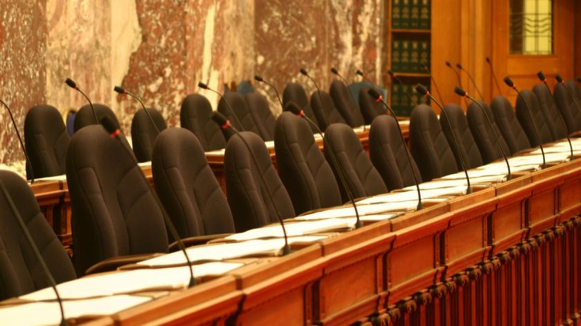 Empty parliament chairs