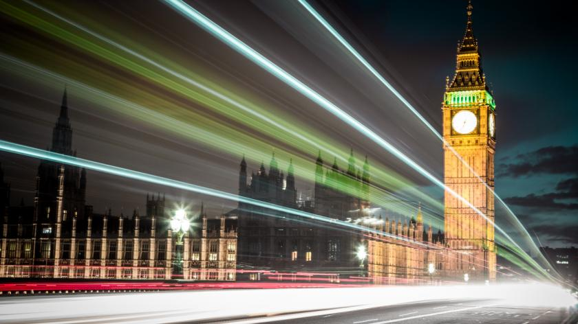 Light trails at night with Parliament building and Big Ben