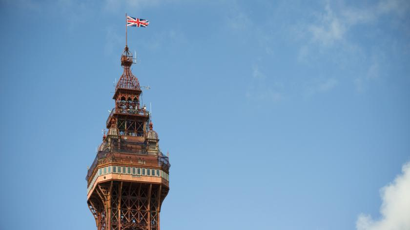 Blackpool tower with British flag flying