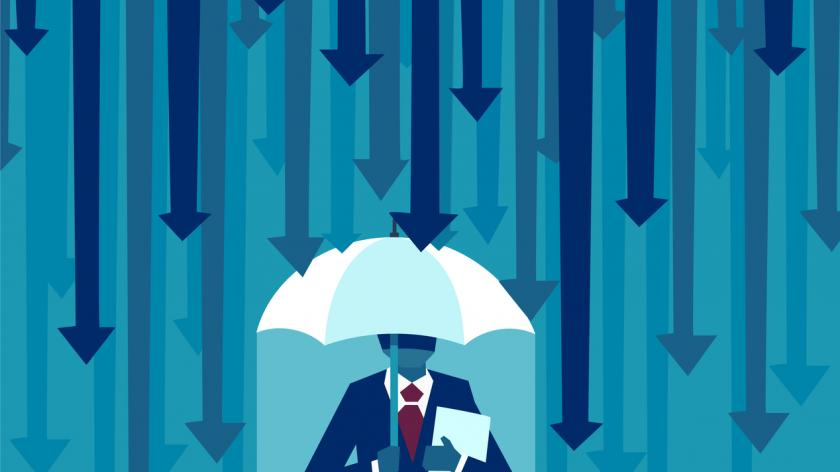 Vector of a businessman with umbrella protecting himself from falling arrows