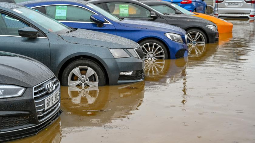 South Wales car dealership, flooded in February 2020