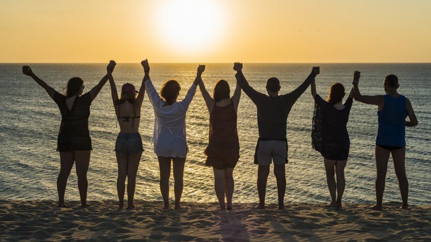 waving at the sun