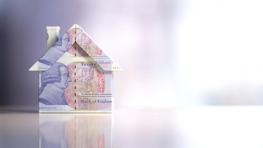 Tiny House Model Textured With Twenty British Pound Banknotes