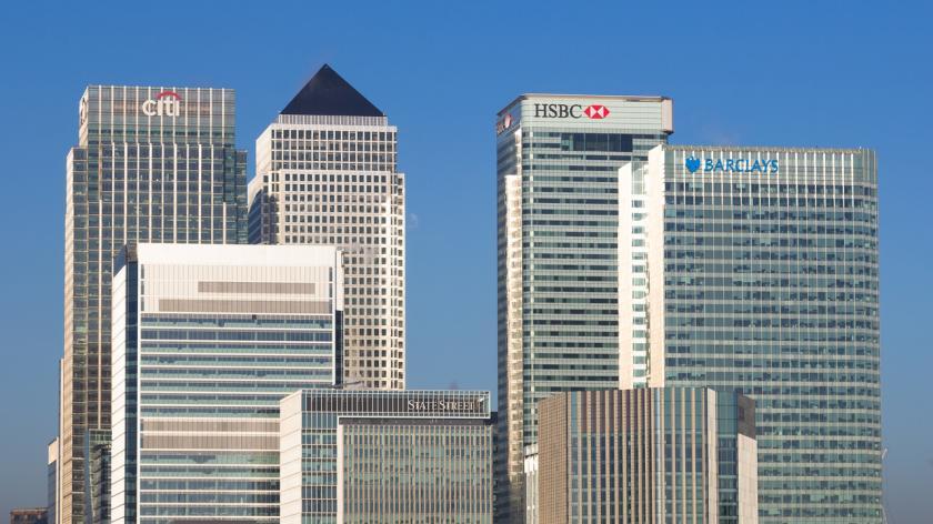 Canary Wharf banks closeup