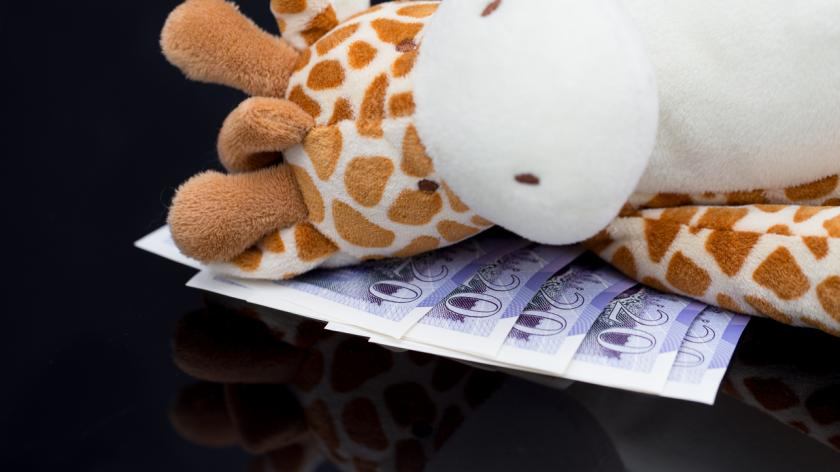 Child's soft toy with £20 British Sterling notes