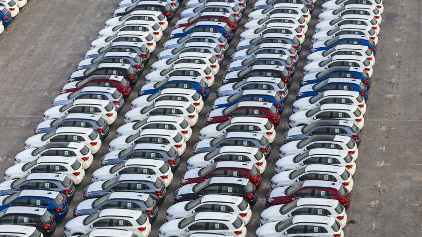 New cars in rows stored at port